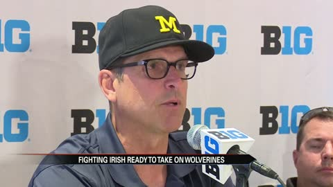 big ten media day coach jim harbaugh excited for notre dame rivalry game